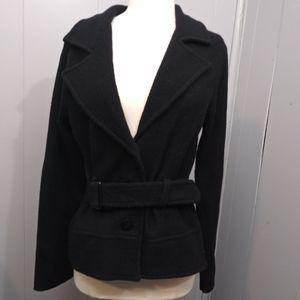 Harve Benard Belted Wool Jacket/Coat Black M